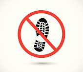 Imprint soles shoes sign icon. Shoe print symbol. Do not stay. Red prohibition sign. Stop symbol vector