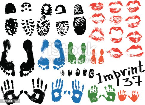 Image of various prints and footprints of adults, children and shoes.
