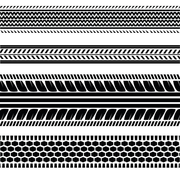 stockillustraties, clipart, cartoons en iconen met imprints banden track - tractieapparaat