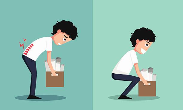 stockillustraties, clipart, cartoons en iconen met improper versus against proper lifting ,illustration,vector - oppakken