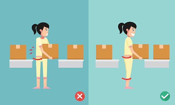 stockillustraties, clipart, cartoons en iconen met improper versus against proper lifting - oppakken
