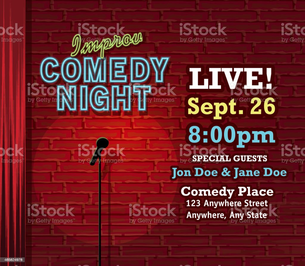 Improv Comedy Night stage with neon sign and brick wall vector art illustration