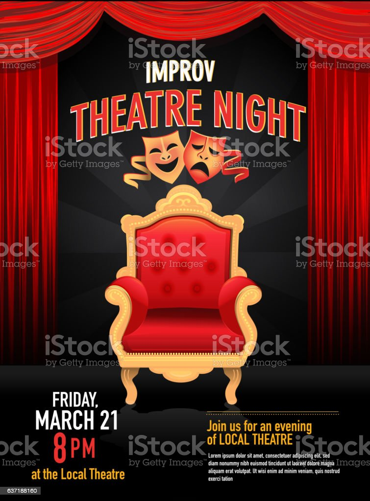 Improv Theatre Night design template with red curtain vector art illustration
