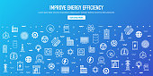 Improve energy efficiency outline style web banner design. Line vector icons for infographics, mobile and web designs.