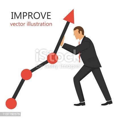 Beautiful flat vector design illustration of  improve growth graph