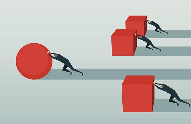 улучшение, конкуренции, занятие, вызов, преодоление трудностей, стратегии, эффективность решения - понятия и темы stock illustrations
