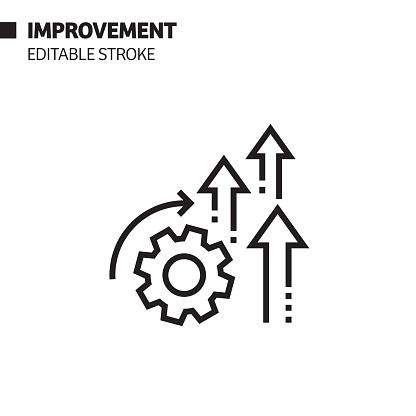 Improvement Line Icon, Outline Vector Symbol Illustration. Pixel Perfect, Editable Stroke.