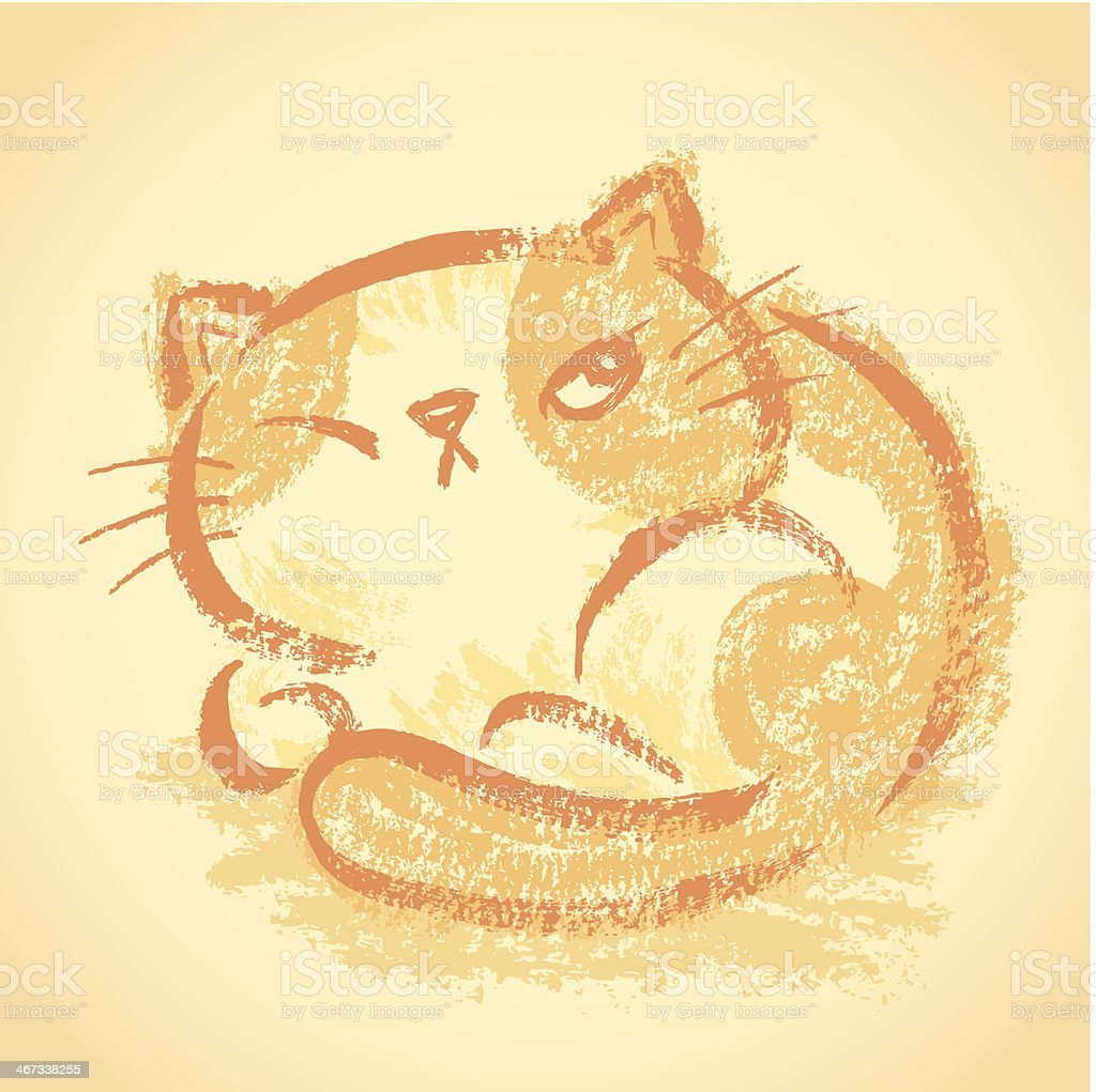 Impudent cat becomes round royalty-free stock vector art
