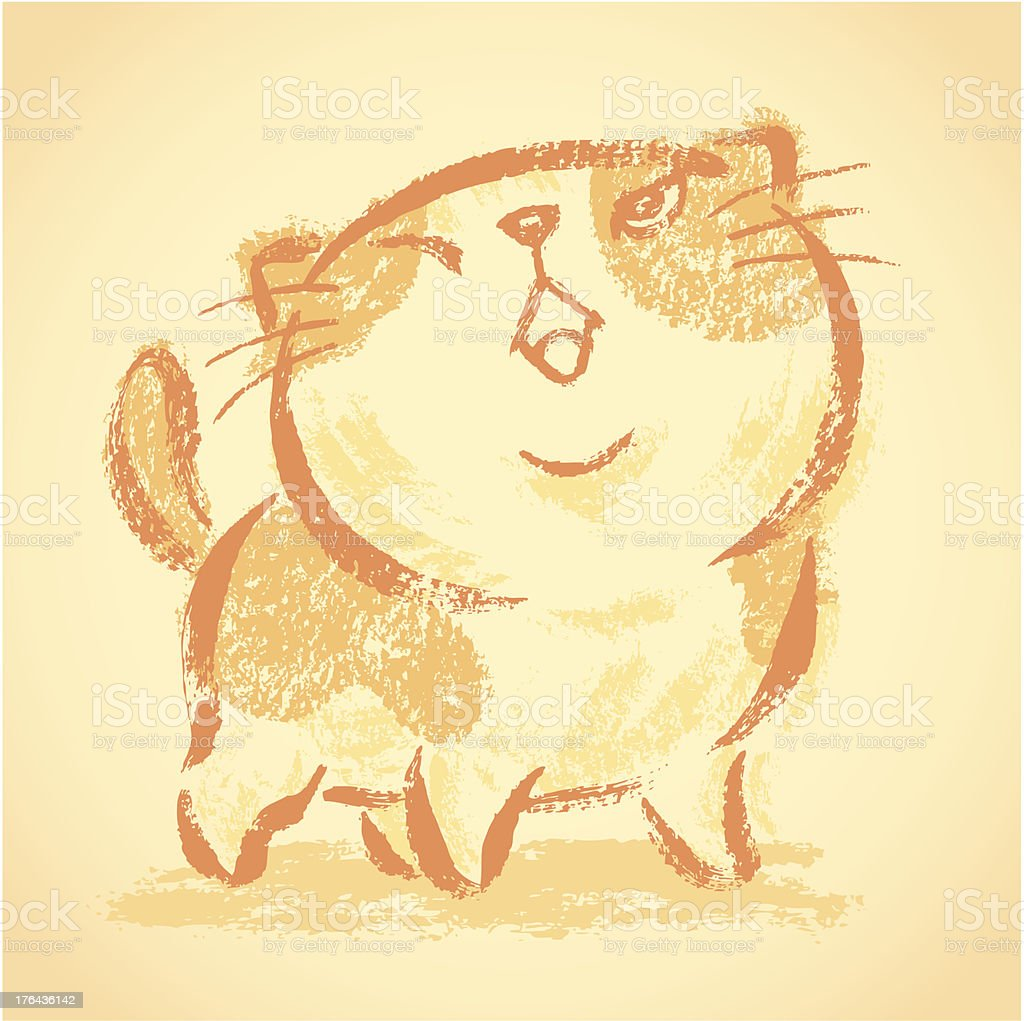Impudent cat looks up royalty-free stock vector art