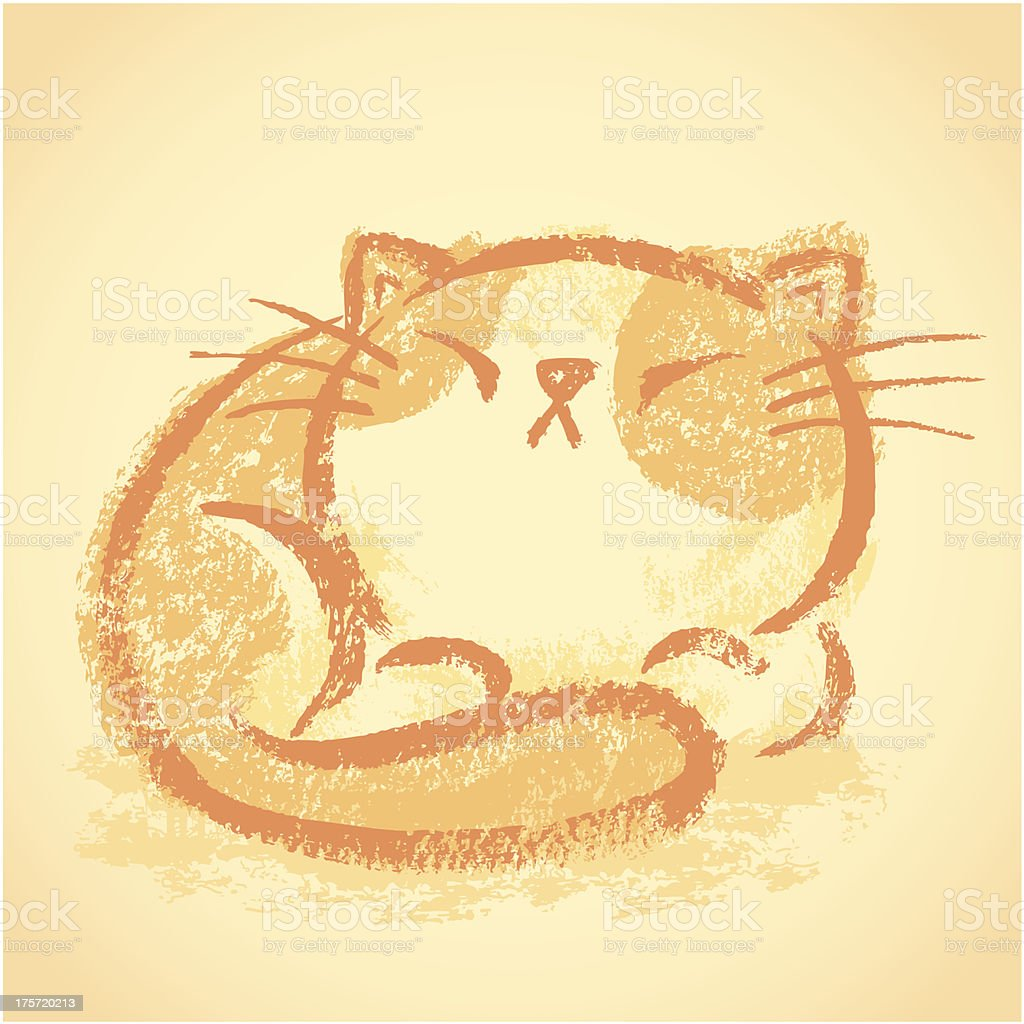 Impudent cat takes a nap royalty-free impudent cat takes a nap stock vector art & more images of animal
