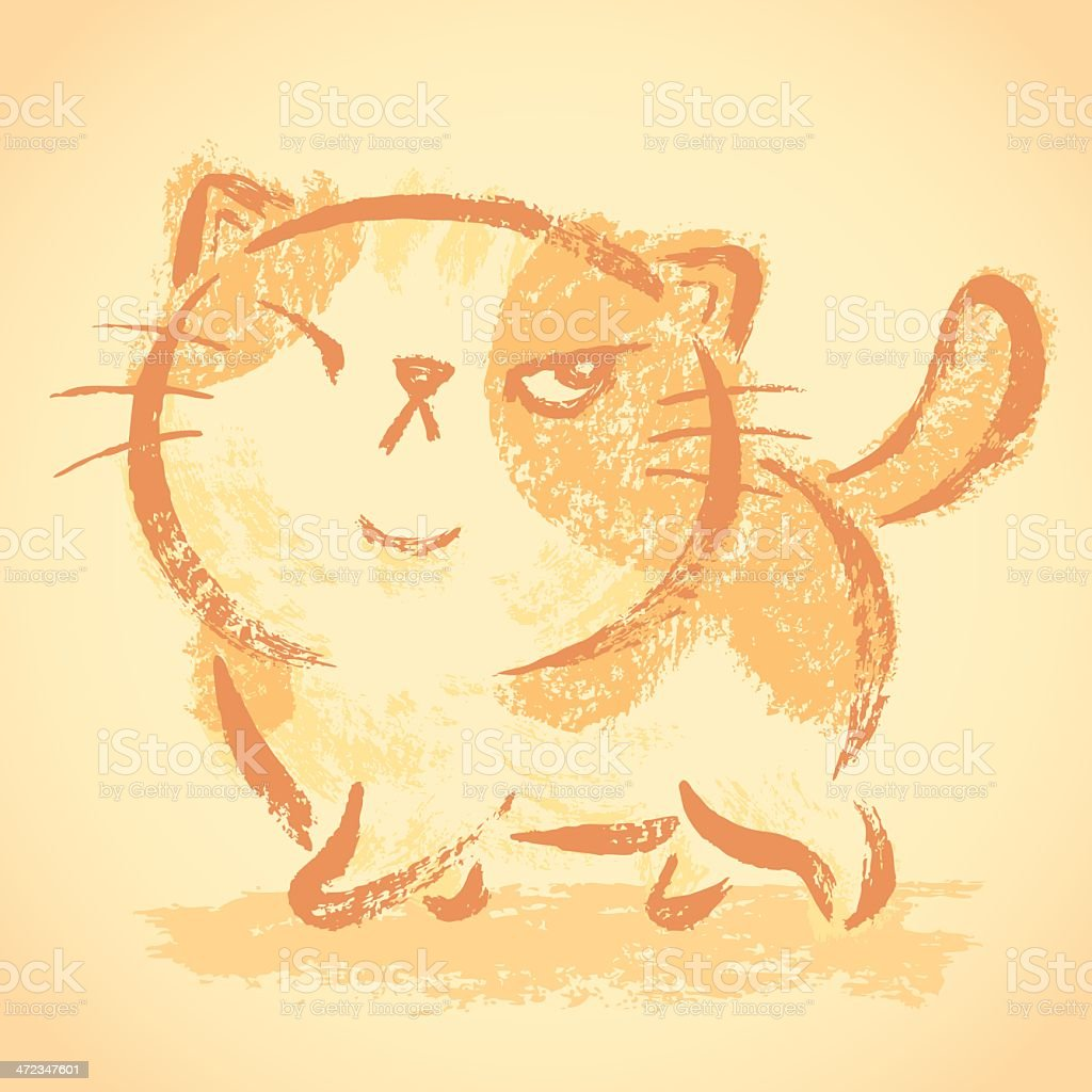 Impudent cat walking royalty-free stock vector art