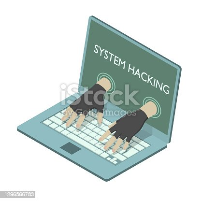 istock Impudent hacker is stealing data from laptop. 1296566783