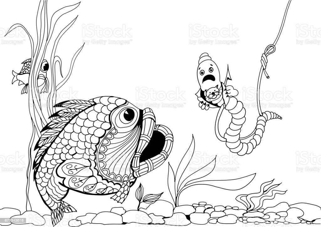 Impudent worm on the hook. Hand drawn patterns for coloring. vector art illustration