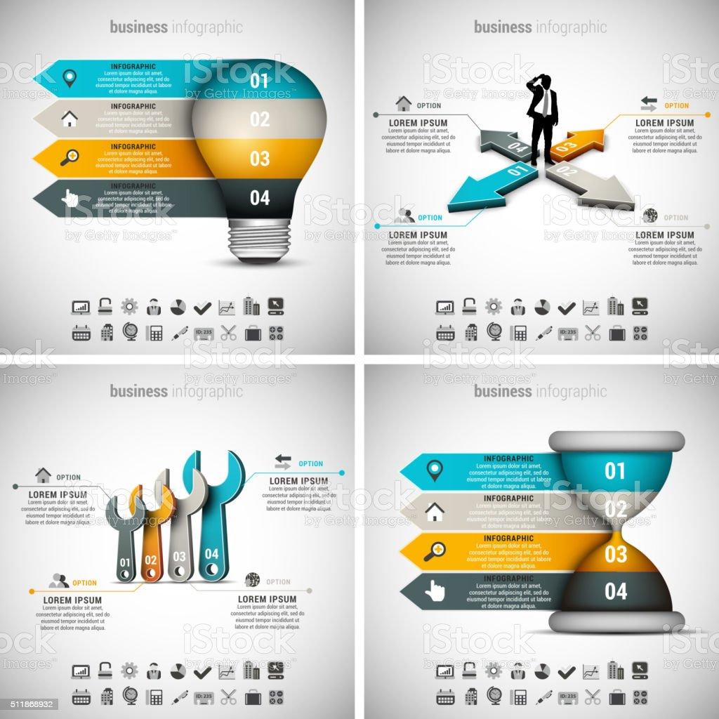 4 in 1 Infografiken-Bundle – Vektorgrafik