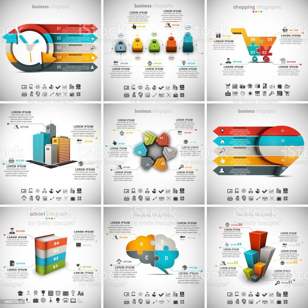 9 in 1 Infographics Bundle – Vektorgrafik
