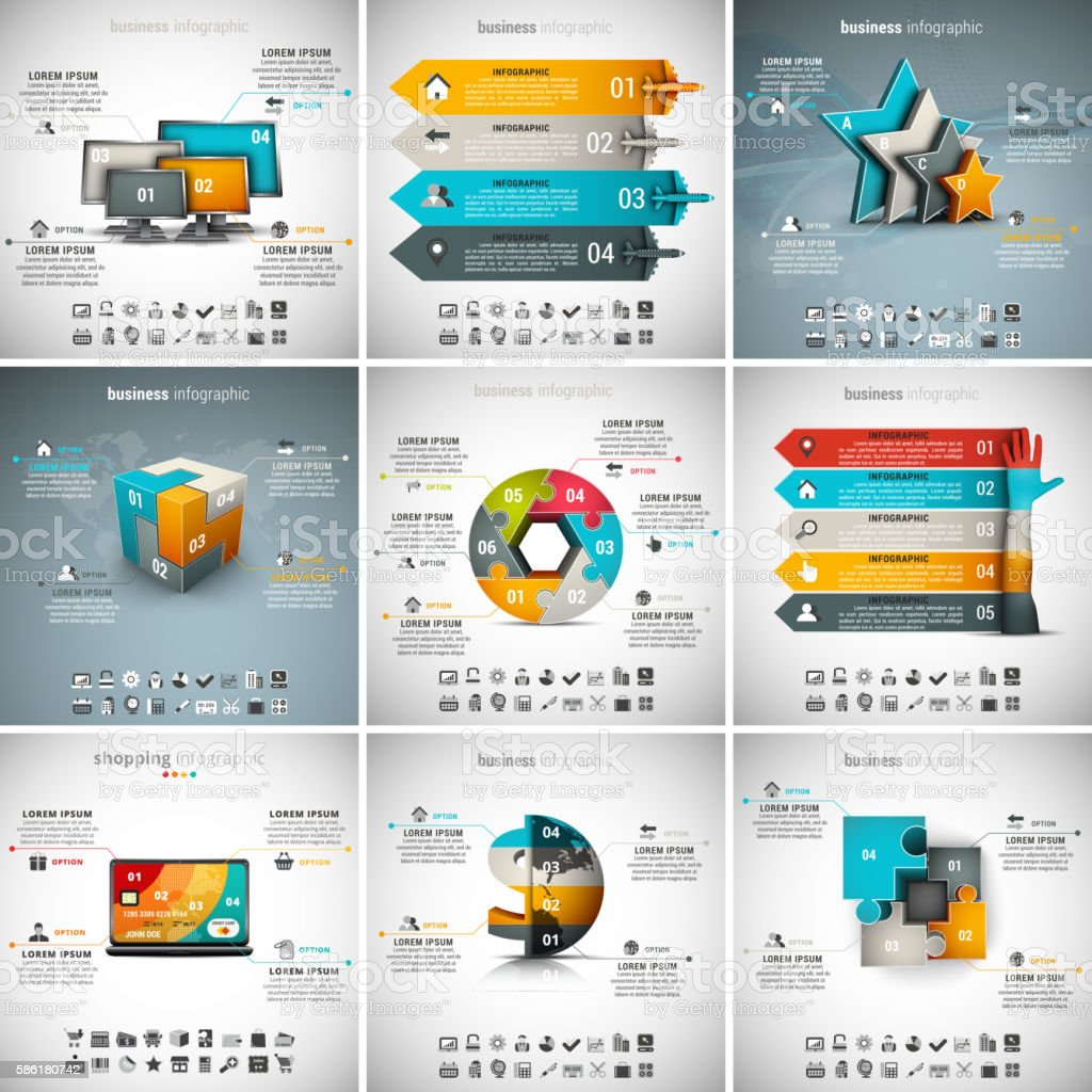 9 in 1 Infographics Bundle vector art illustration