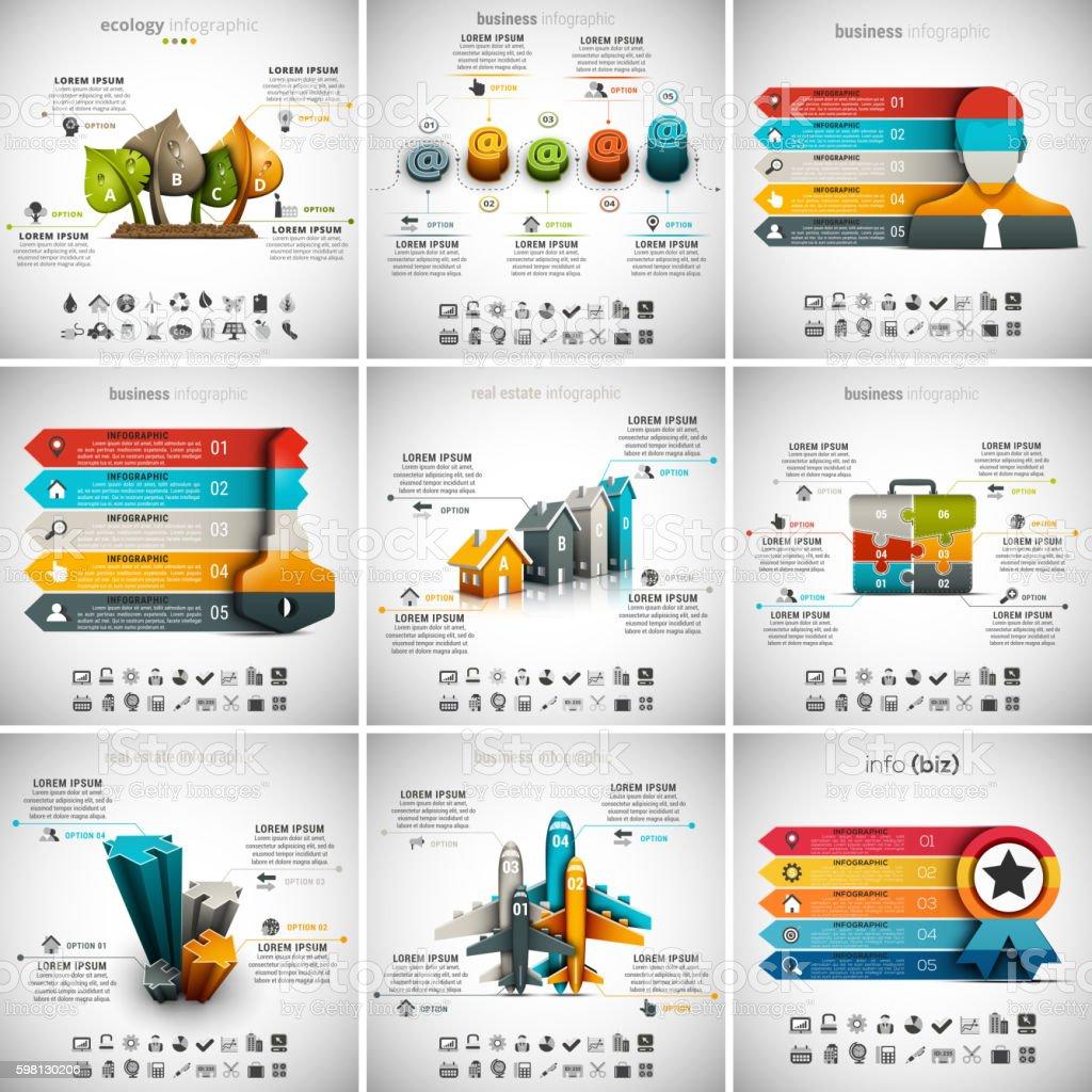 9 in 1  Infographics Bundle vector art illustration