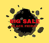 BLACK FRIDAY SALE in 3D word exploded on broken wall, comic style, sign symbol, Vector illustration for promotion advertising.