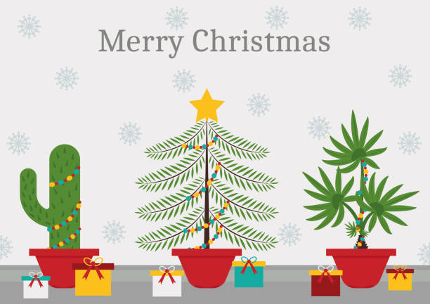 in a christmas time every plant is a christmas tree vector art illustration