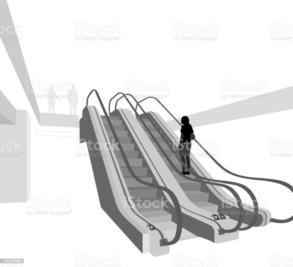 In a shopping mall vector art illustration