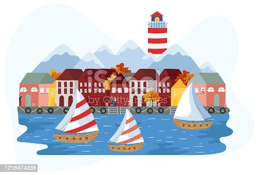 Sailboats near Scandinavian seaside town, vector illustration. Huge lighthouse rises over the mountains, cute small houses in old European fishing town. Autumn vacation trip, idyllic nordic scenery