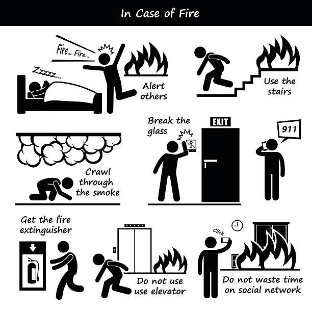 In Case Of Fire Emergency Plan Icons Vector Art Illustration