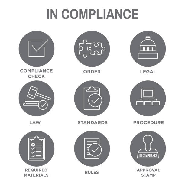 In Compliance Icon Set - Outline In Compliance Icon Set - Outline with Legal and Procedural rules stock illustrations