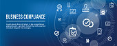 In compliance web banner - icon set that shows a company passed inspection