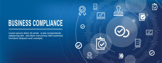 illustrazioni stock, clip art, cartoni animati e icone di tendenza di in compliance web banner - icon set that shows a company passed inspection - uniforme