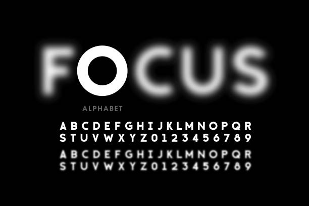 In focus style font design In focus style font design, alphabet letters and numbers vector illustration image focus technique stock illustrations