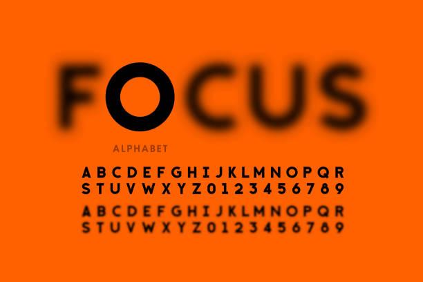 ilustrações de stock, clip art, desenhos animados e ícones de in focus style font design - desfocado focagem