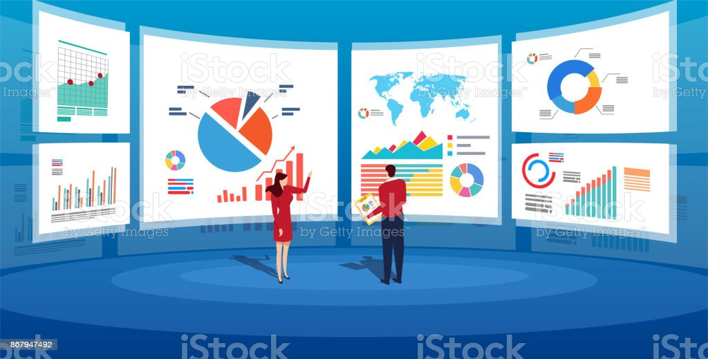 In front of the big screen for data analysis vector art illustration
