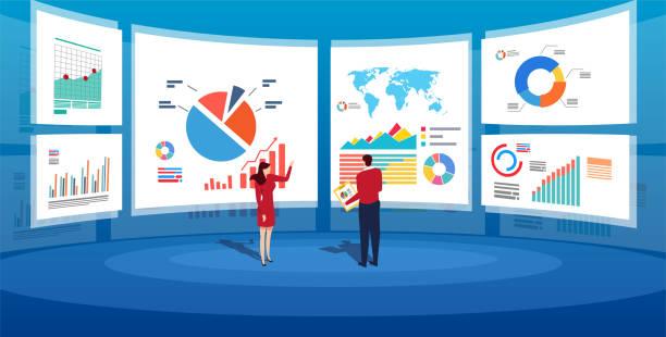 データ解析のための大画面の前で - 株式仲買人点のイラスト素材/クリップアート素材/マンガ素材/アイコン素材