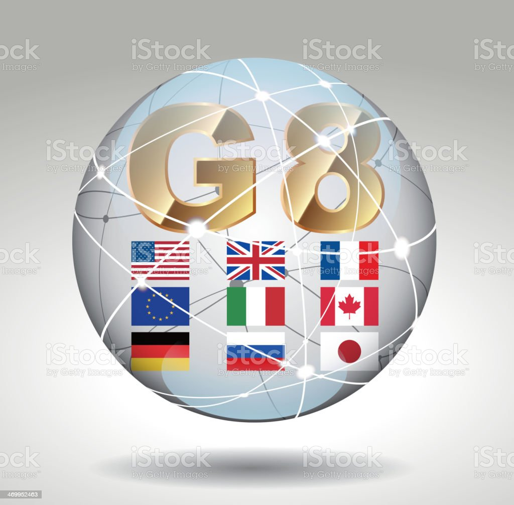 G8 in intenational sphere vector art illustration