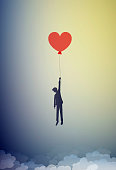 in love concept, boy silhouette holds the red heart shaped balloon and flying up to the sky, dreamer concept, shadow story vector