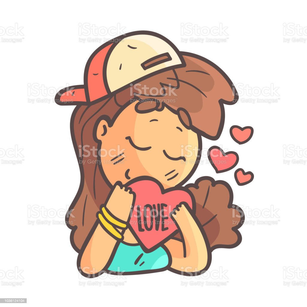In Love Girl In Cap, Choker And Blue Top Hand Drawn Emoji Cool Outlined Portrait vector art illustration