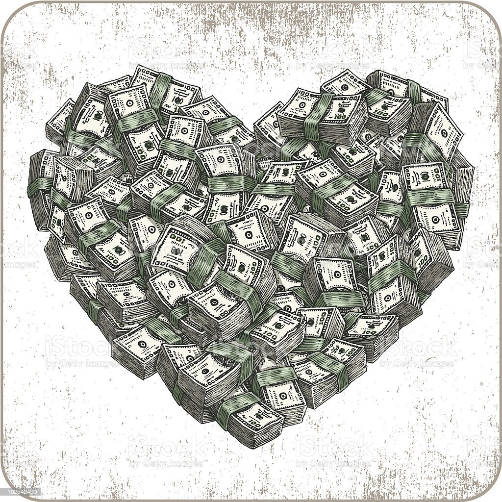 In love with money vector art illustration