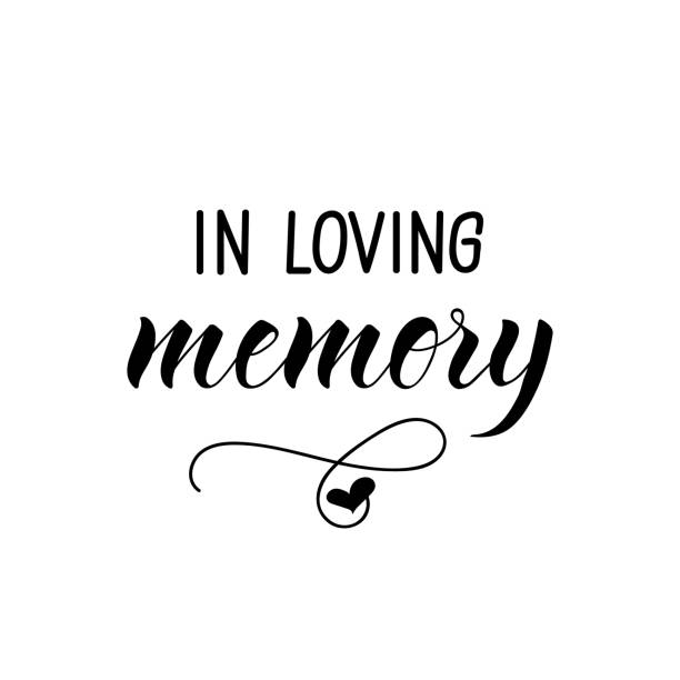 In loving memory. Vector illustration. Lettering. Ink illustration. vector art illustration