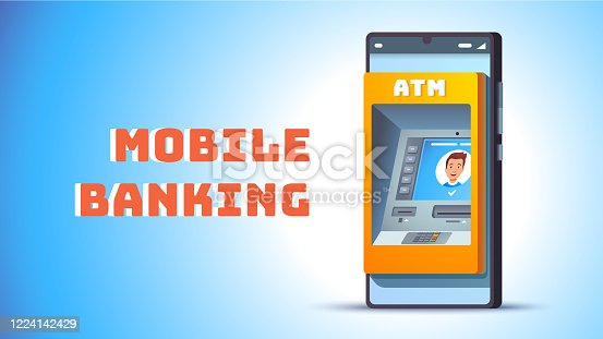 ATM in mobile phone concept. Cash machine on smart cellphone screen. Mobile banking and internet bank metaphor inside smartphone wallet app. Flat style vector object illustration