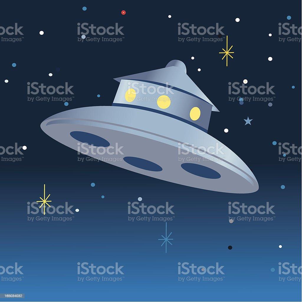 UFO in night sky vector art illustration