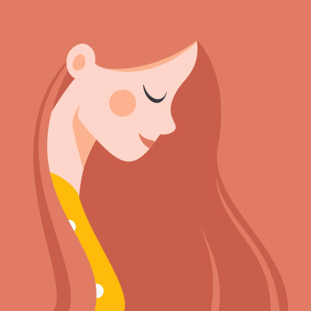 stockillustraties, clipart, cartoons en iconen met in profiel mooi jong meisje met rood haar glimlachend - woman smiling