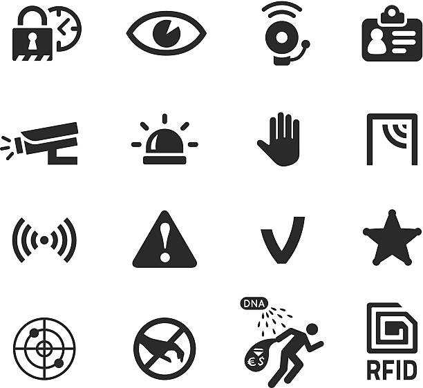 in shop theft prevention and security icons Set of security and theft prevention icons for shops, buildings and offices. Contains recent innovations like DNA spray, GPS tracking and RFID protection. Quality vectors for website, app or print project. Includes transparent PNG and PDF file. vandalism stock illustrations
