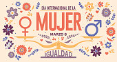 DIA INTERNATIONAL DE LA MUJER - INTERNATIONAL WOMEN S DAY in Spanish language. Text in red color and scale with EQUALITY word and male, female icon surrounded by flowers on yellow background. Vector