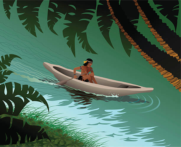 In the Amazon river Vector illustration of an Amazon indian men rowing in the Amazon river amazon stock illustrations