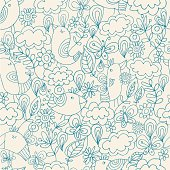 Hand drawn style seamless pattern. Two colours used only.