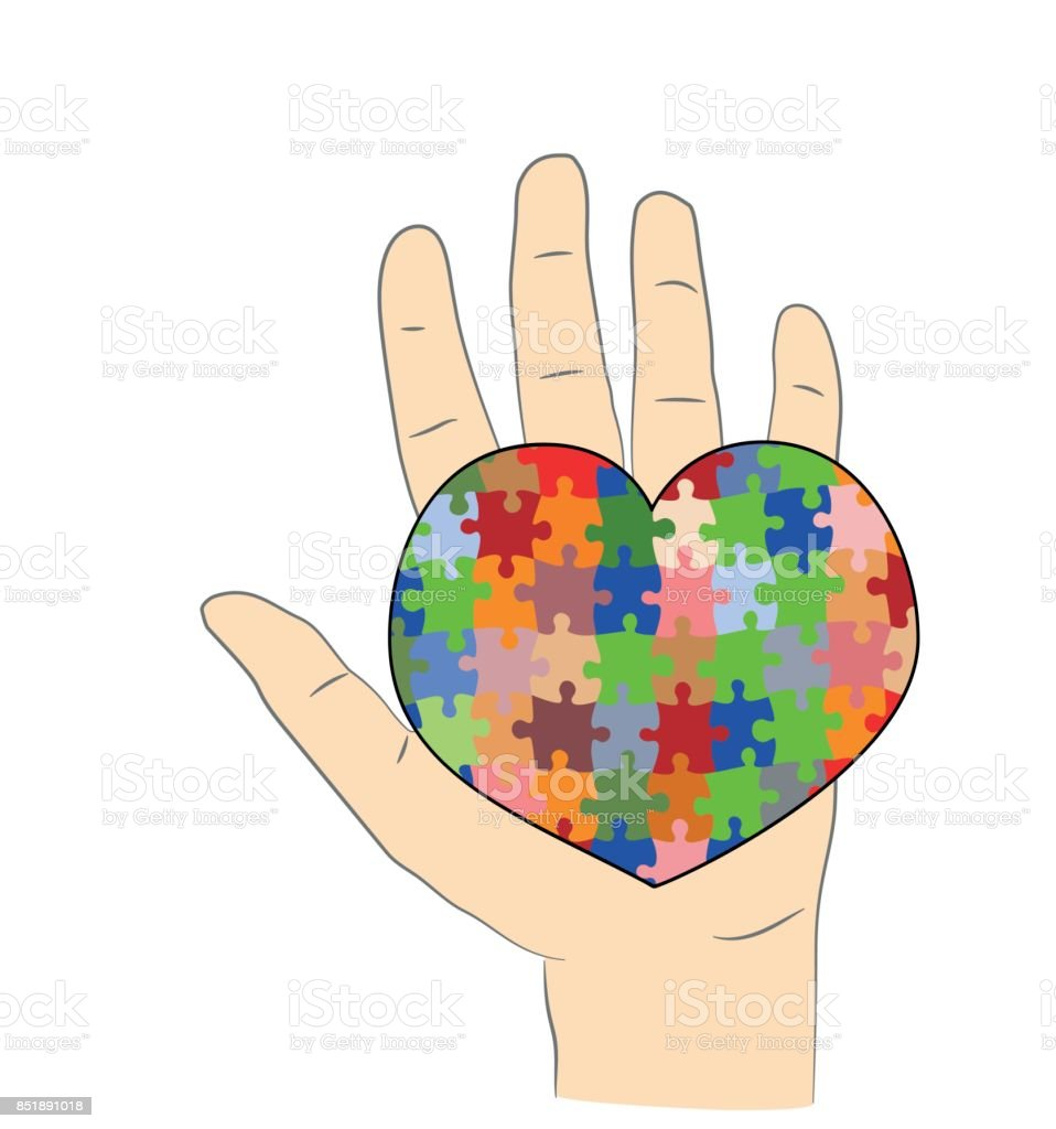 In The Hand The Heart Is A Puzzle A Symbol Of Autism Vector