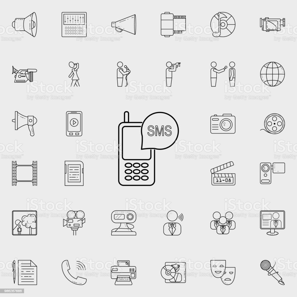 Sms In The Phone Icon Detailed Set Of Media Icons Premium Quality