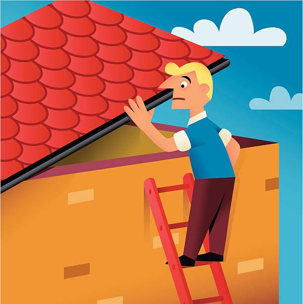 auf dem dach - dachpfannen stock-grafiken, -clipart, -cartoons und -symbole