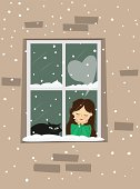 Сute young girl with kitty, in love dreaming at window.Vector illustration