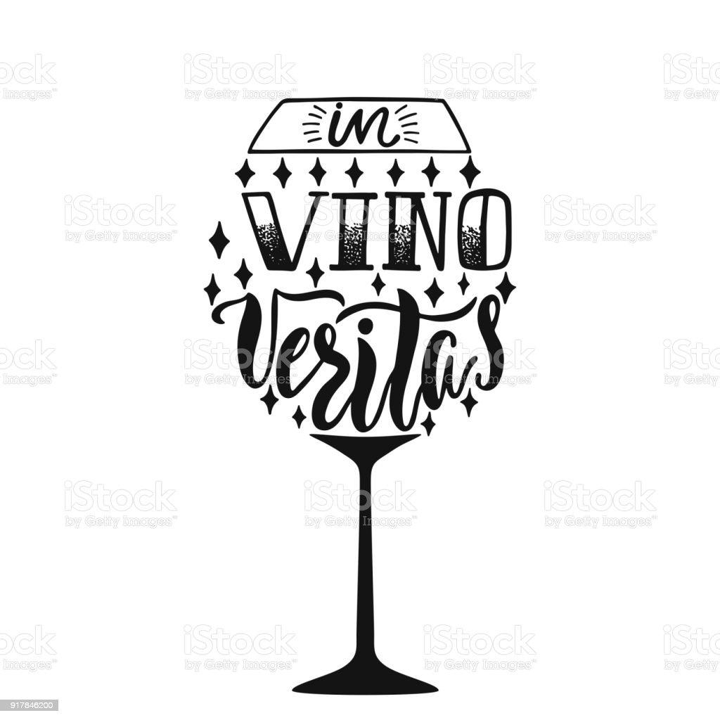 lateinische phrase bedeutet in vino veritas im wein wahrheit hand gezeichnet inspirierende. Black Bedroom Furniture Sets. Home Design Ideas
